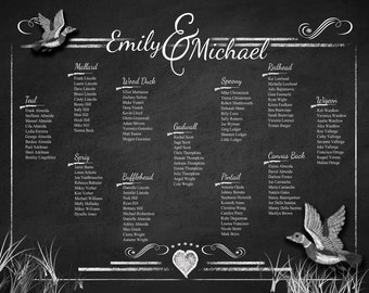 CUSTOM GRAPHICS wedding seating chart made to your wedding theme - PRINTABLE file