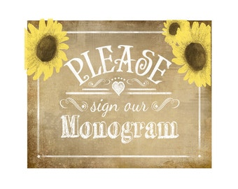 PLEASE sign our MONOGRAM Printable Vintage Sunflower Wedding sign - instant download digital file - DIY - Vintage Sunflower Collection
