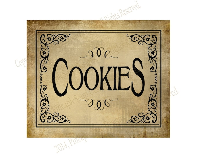 COOKIES - Printable Wedding Dessert bar sign - 5x7, 8x10 or 11 x 14 - instant download digital file - DIY - Vintage Black Tie Collection