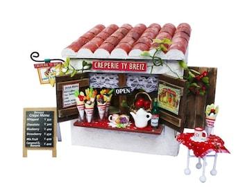 Handmade Dollhouse Kit,Crepe store,Crepe shop