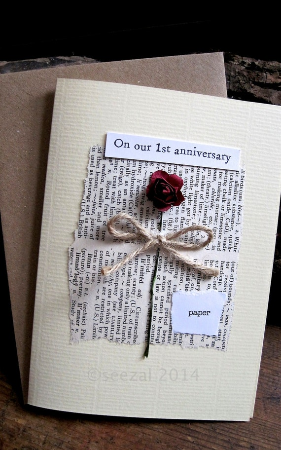 Romantic and understated first wedding anniversary card for Paper gift ideas for anniversary