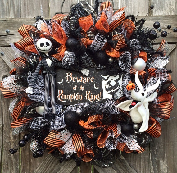 Halloween wreath halloween mesh wreath nightmare before - Jack skellington decorations halloween ...