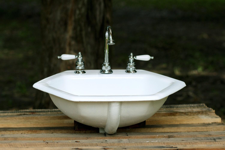 1964 Kohler Octagon Bathroom Sink Porcelain Cast Iron by
