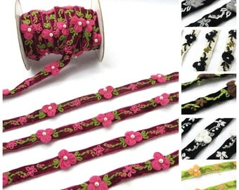 6 Colors|1 Yard Embroidered Velvet Ribbon with Velvet Flower|Sewing|Quilting|Jewelry Design|