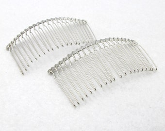 10 Pieces 20 Teeth Hair Comb|Wire Comb|Hair Comb Supplies|Hair Accessories|Head Supplies|Silver Metal Comb