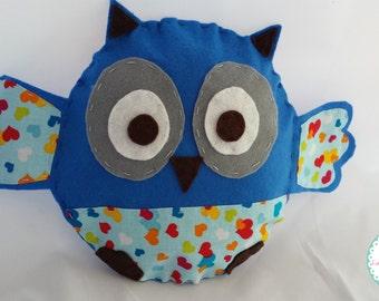 Plush owl, blue owl, decorative owl, home decor