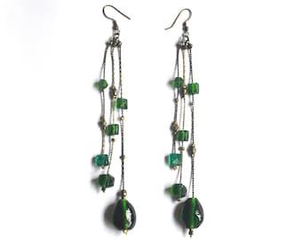 Vintage Long Earrings - Emerald Green Beaded Earrings, Cascade Earrings, Glass Dangles