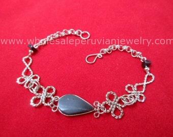 Black Onyx Teardrop Alpaca Silver Clovers Bracelet Peruvian Jewelry - Handmade in Peru