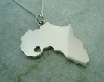 Sterling Silver Africa Pendant with Heart (Choose where you want the heart)