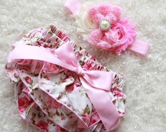 light pink floral baby Girl headband and Ruffle Bum Baby Bloomer,baby headband, Diaper Cover, Ruffle Bum, Newborn Headband Set - Photo Prop