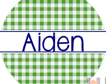 Personalized kids gingham plate.   A custom, fun and UNIQUE gift idea! Kids love eating on personalized plates! Custom colors available!