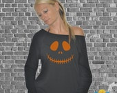 6 color New womens ladies Soft long sleeve THIN sweater sweat shirt top big pumpkin face jack o lantern halloween costume