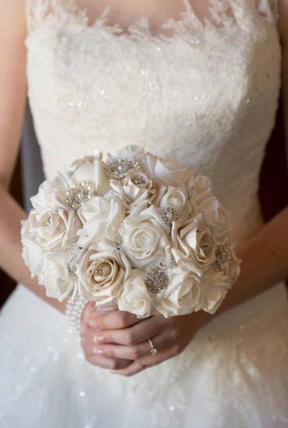 wedding bouquet winter wonderland style brooch and flower. Black Bedroom Furniture Sets. Home Design Ideas