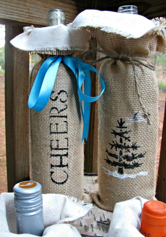Items similar to burlap wine bag rustic wedding decor for Decorative burlap bags