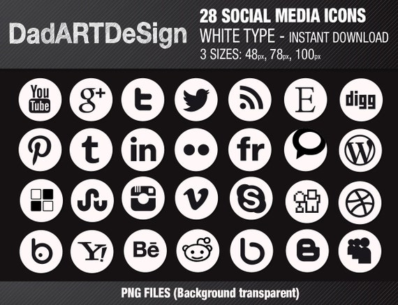 28 Circle social media icons white