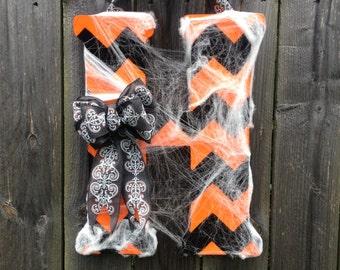 Halloween Chevron Monogram Door Hanger with Halloween Bow and Spider Webbing
