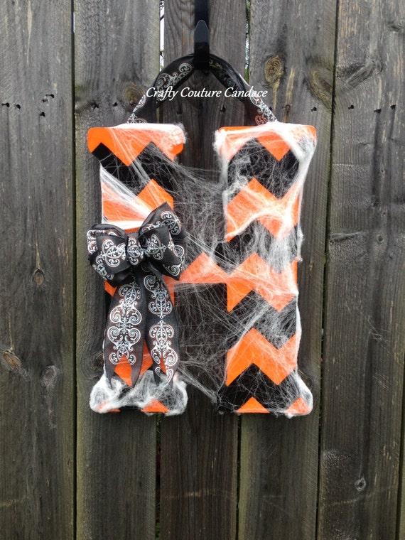 Halloween Chevron Monogram Door Hanger with Halloween Bow and ~ 230255_Halloween Door Hanging