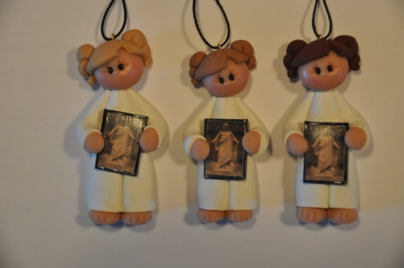 LDS baptism girl ornament with picture of Christ