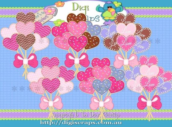 Valentine Cookie Balloon Bouquet Clip Art Set By Digiscrapsau