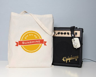 Tote bag, you are my sunshine, typography bag, quote tote bag, sunshine quote, book bag, sunshine, cute tote bag, cotton tote, hand bag