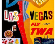 Vintage Las Vegas Fly TWa Airways Aviation Airline AirPlane Travel Ad Art Deco Poster  Mounted Canvas Giclee Print
