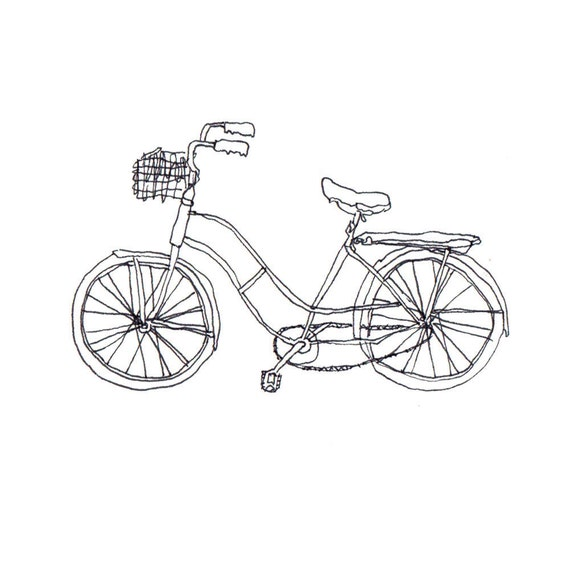 Line Drawing Bicycle : Black line drawing of a bicycle