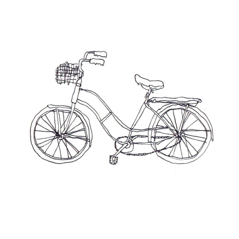 Line Drawing Bike : Black line drawing of a bicycle