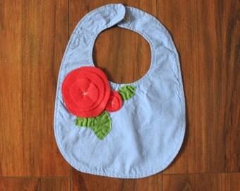 Baby Bib, Handmade, All-natural 100% Cotton and Eco-felt.
