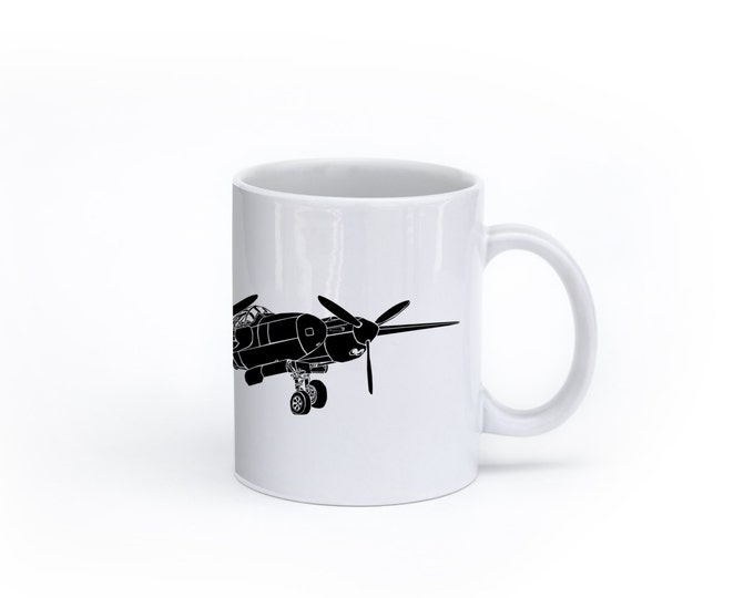 KillerBeeMoto: U.S. Made P38 Lightning Fighter Plane Coffee Mug (White)