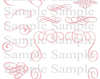 Pink Swirly Flourish Swirls Wedding Clipart INSTANT DOWNLOAD Swirl Clip Art Wedding Digital Clip Art Flourish Clip Art Calligraphy Clip Art