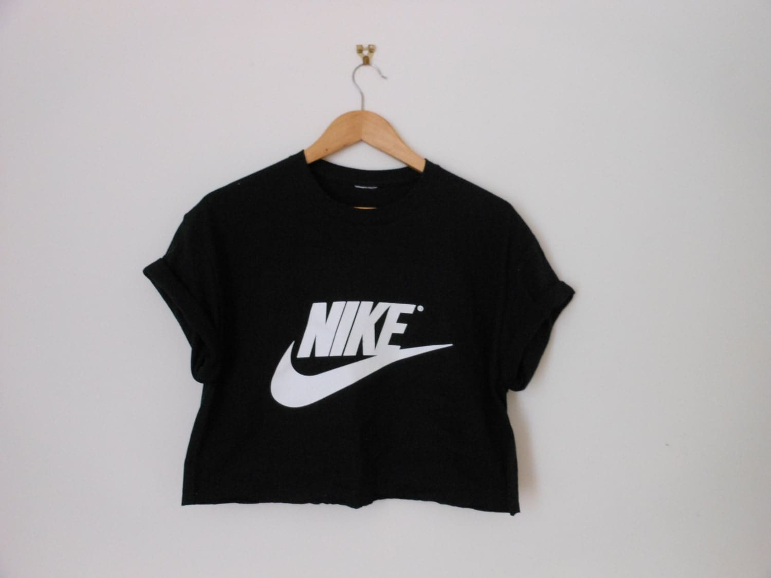 classic black nike swag style crop top by 0bubblegumboutique0. Black Bedroom Furniture Sets. Home Design Ideas