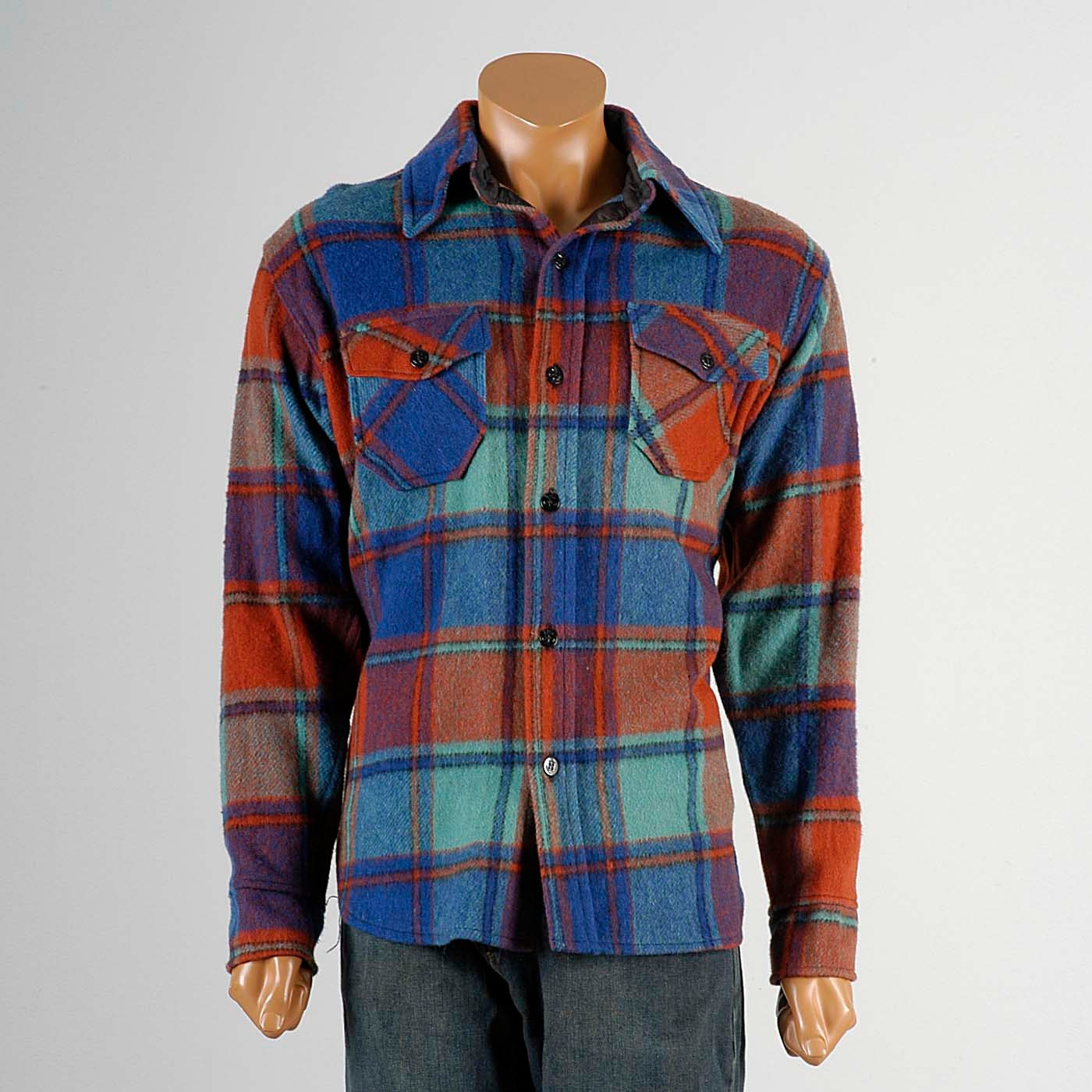 Mens vintage 60s heavy weight wool flannel plaid colorful for Mens wool flannel shirt