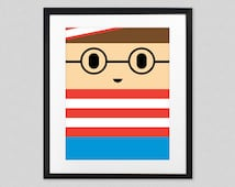 Where's Waldo (Wally) Poster for Kids Room, Baby Nursery - Cute Minimalist Wheres Waldo Wall Art Print / Decor | Cool Birthday Gift Idea