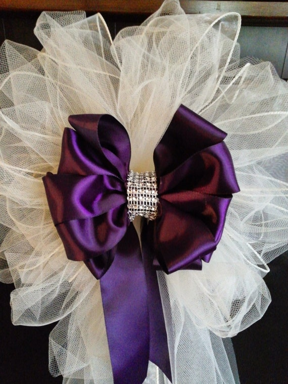 Wedding pew bows any color satin and tulle bows with streamers - Bow decorations for weddings ...