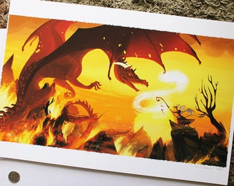 "13x19""Sunfall Inferno fire dragon fight LIMITED EDITION print"