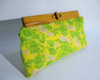 Vintage Clutch Purse with recycled wooden handle
