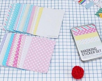 27 sheets masking sticker---Tin Box Masking Sticker Set - Deco Stickers - Korean Stickers - Pastel Ver
