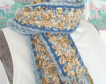 Crochet Scarf Blue White Tan Peach Beach Sunrise Dawn Soft Handmade Neck Wrap
