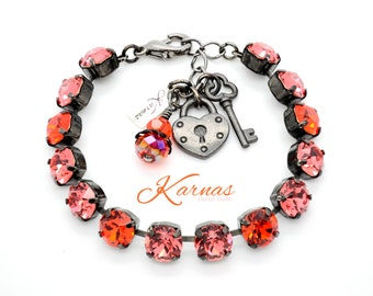 DREAMSICKLE 8mm Crystal Chaton Bracelet Made With Swarovski Elements *Pick Your Finish *Karnas Design Studio *Free Shipping*