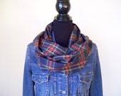Navy Blue Scarf, Infinity Scarf, Tartan Scarf, Circle Scarf, Plaid Scarf, Mens Scarf, Womens Scarf, Gift under 30, Gift For Her