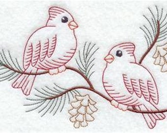 Winter Cardinals Embroidered Flour sack towel pair Great Gift!