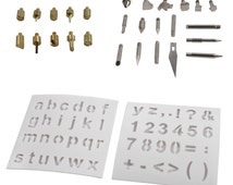 28pc Wood Burning Wood Working & Assorted Soldering Tips Stencil Set Craft Hobby