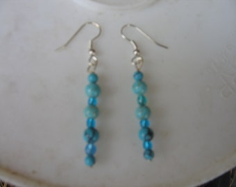 turquois beads and crystal earrings