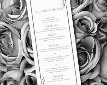 Printable Wedding Menu Template Elegance Black White