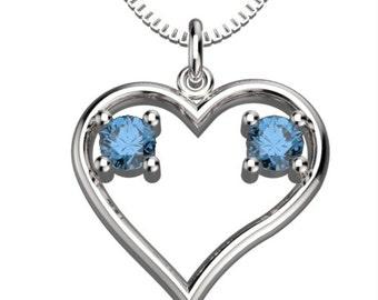 Heart Couple Birthstones Dec Blue Zircon & Dec Blue Zircon Pendant with 18' Necklace Valentine's gift