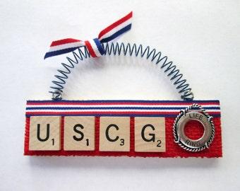 USCG Coast Guard Scrabble Tile Ornament
