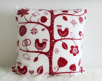 Nordic Birds Red Betty Svensson Decorative Designer Cotton Cushion Cover (various sizes)
