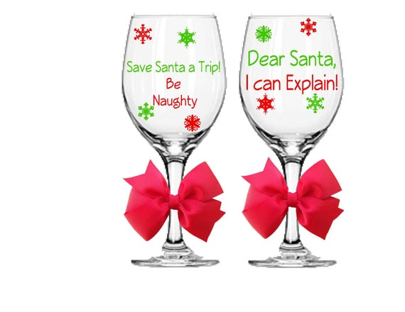 Santa and Christmas Inspired Holiday Wine Glasses