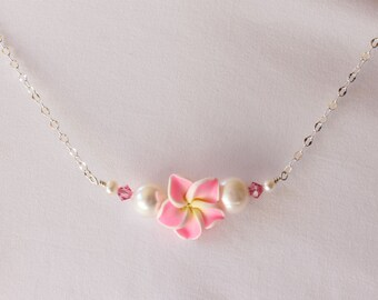 Pink Plumeria Necklace, Silver Plumeria Necklace, Hawaiian Plumeria Necklace, Frangipani Necklace, Beach Wedding Necklace