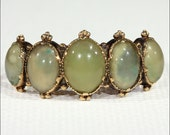 Antique Victorian Chrysoberyl Ring, 5 Stone in 18k Gold, c. 1850